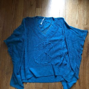 Sheer pullover Sweater turquoise peace pattern